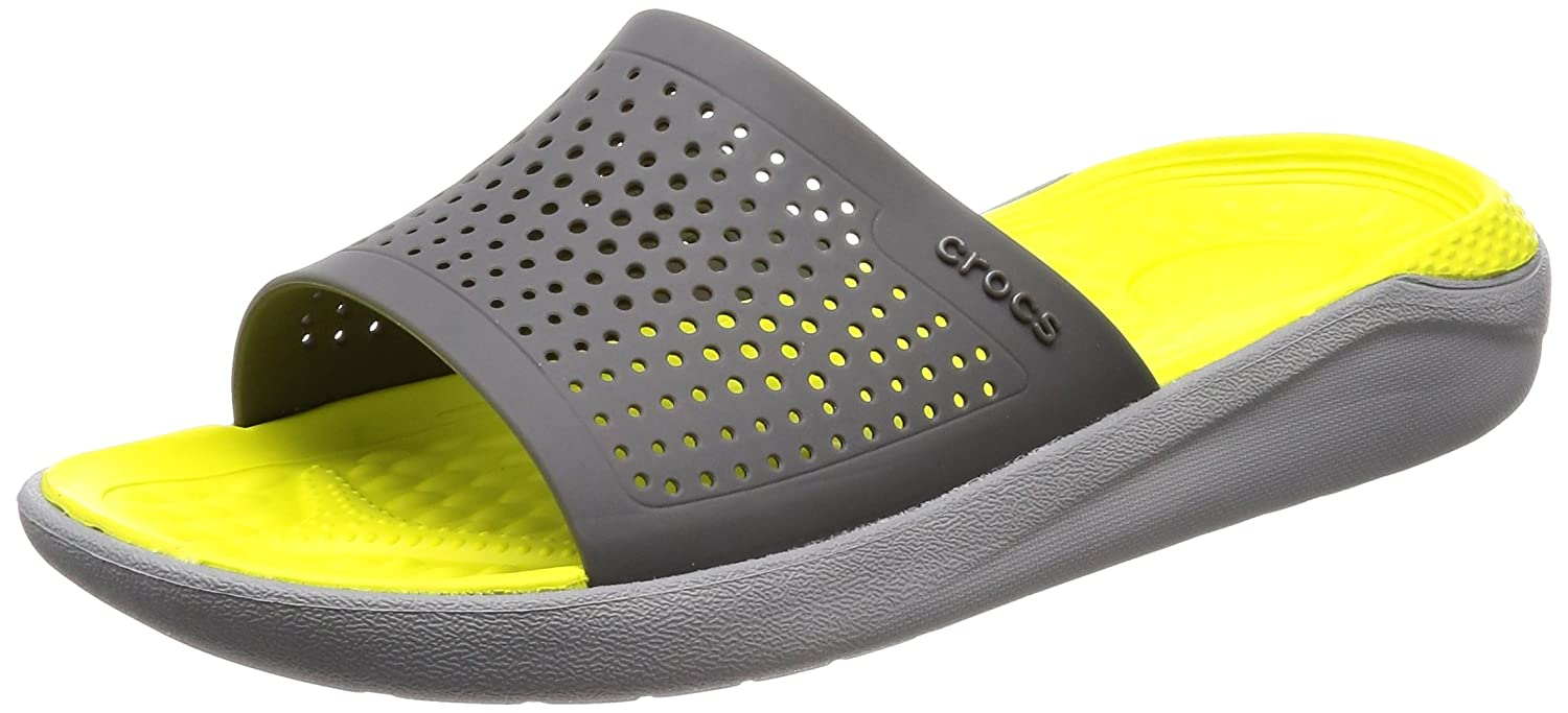Crocs Unisex LiteRide Slide B074F7QK52 12 US Men/ 14 US Women M US|Slate Grey/Light Grey