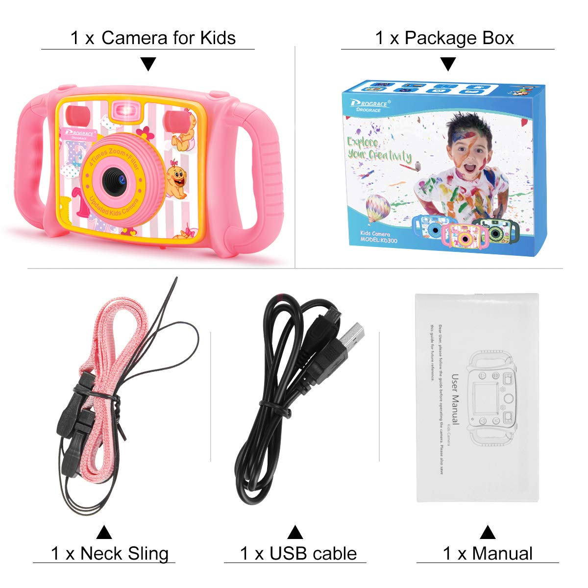 Prograce Kids Camera Creative Camera 1080P HD Video Recorder Digital Action Camera Camcorder for Boys Girls Gifts 2.0'' LCD Screen with 4X Digital Zoom and Funny Game(Pink) by Prograce (Image #6)