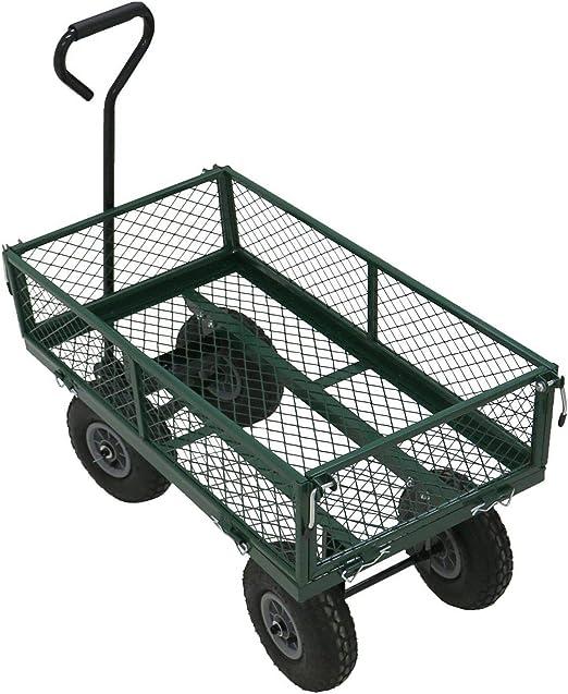 New Heavy Duty Metal Gardening Trolley Green Garden Utility Trailer Cart