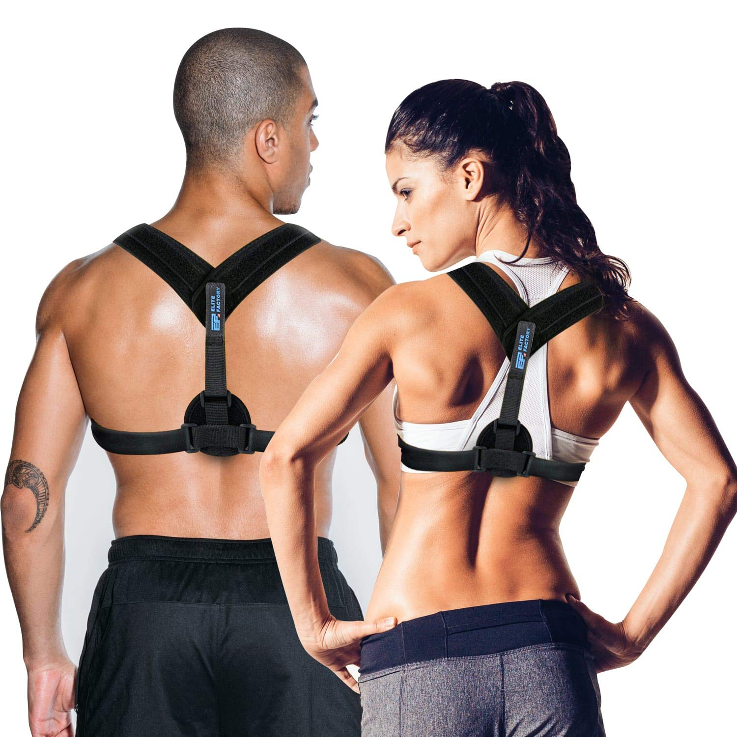Posture Corrector for Women and Men | Back Brace for Lower Back Pain, Lumbar Support, Shoulder Straightener | Wear it Under Clothes or During Pregnancy | Prevent Scoliosis and Kyphosis | Body Wellness by Elite Factory