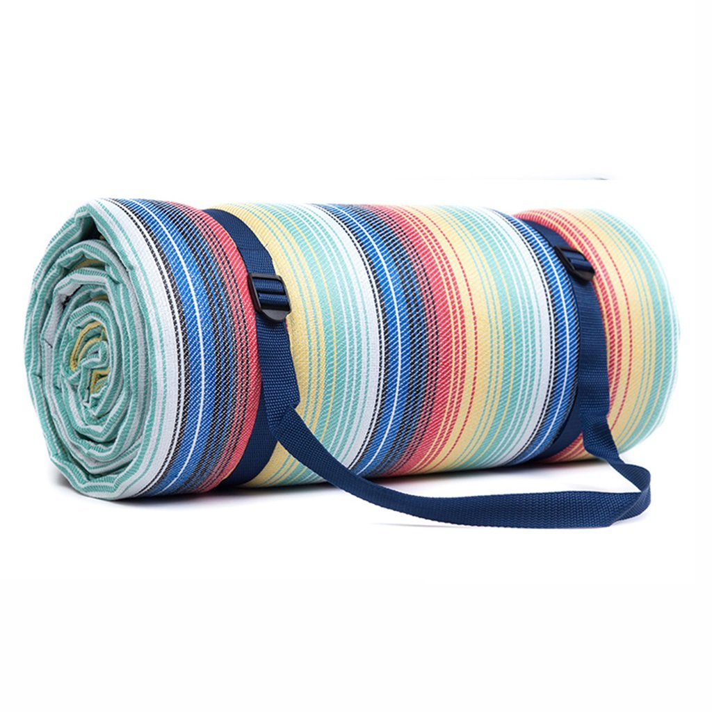 250250cm Picnic Mat Moistureproof Pad Grid Waterproof Backing Rainbow Stripes (Size : 250250cm)