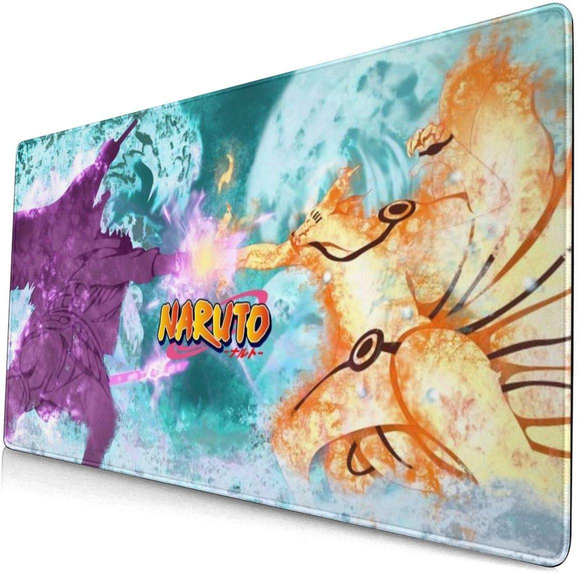 Cool Anti-Fray Gaming Mouse Pad with Stitched Edge, Anti-Slip Rubber Base, Waterproof Anime Naruto Naruto Uzumaki and Sasuke Uchiha Keyboard Pad Desk Mat, Classic Mouse Mat for Laptop Office Home