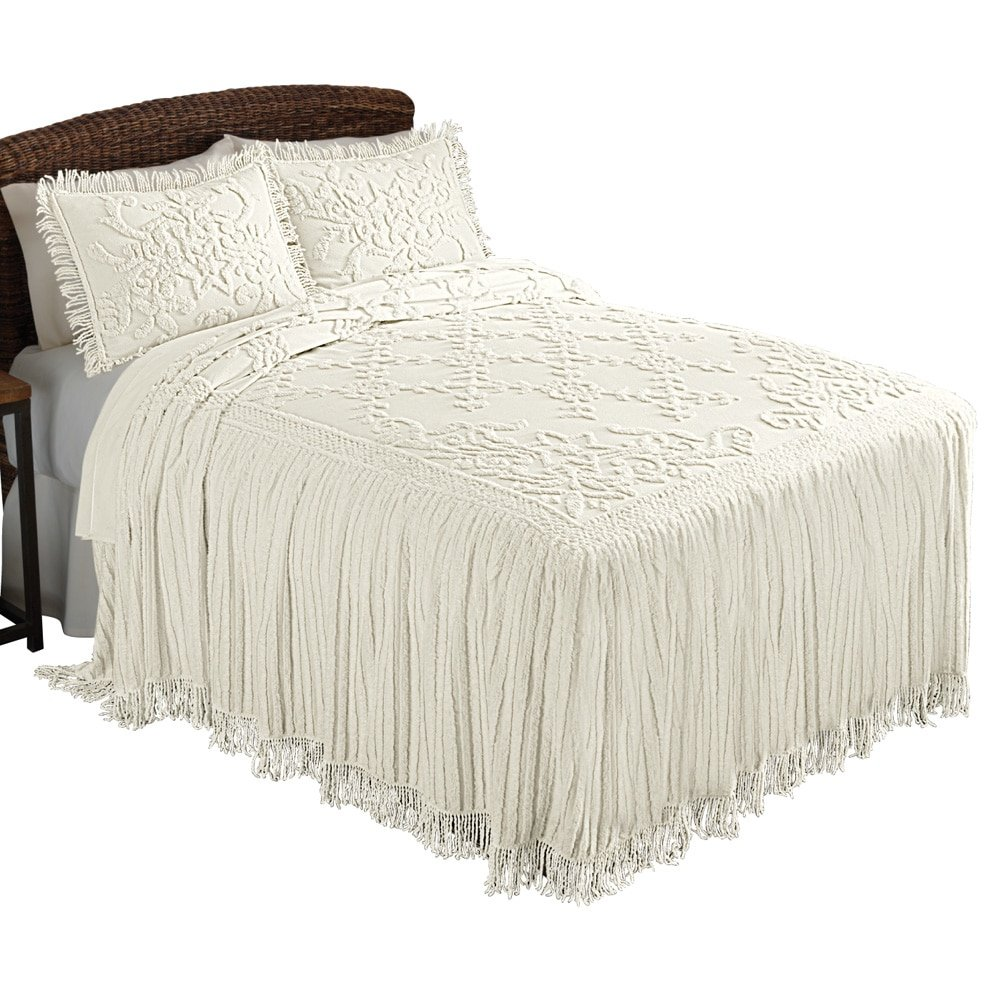 Collections Etc Romantic Floral Lattice Chenille Lightweight Bedspread with Fringe Edging, Cream, King