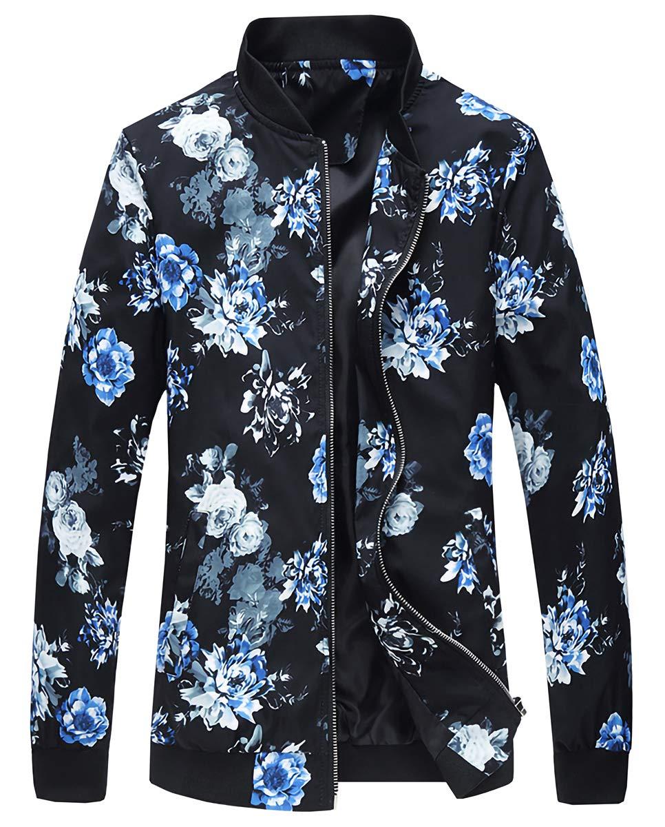 EMAOR Mens Men's Casual Long Sleeve Bomber Jackets Zip Up Floral Printed Baseball Coat by EMAOR Mens