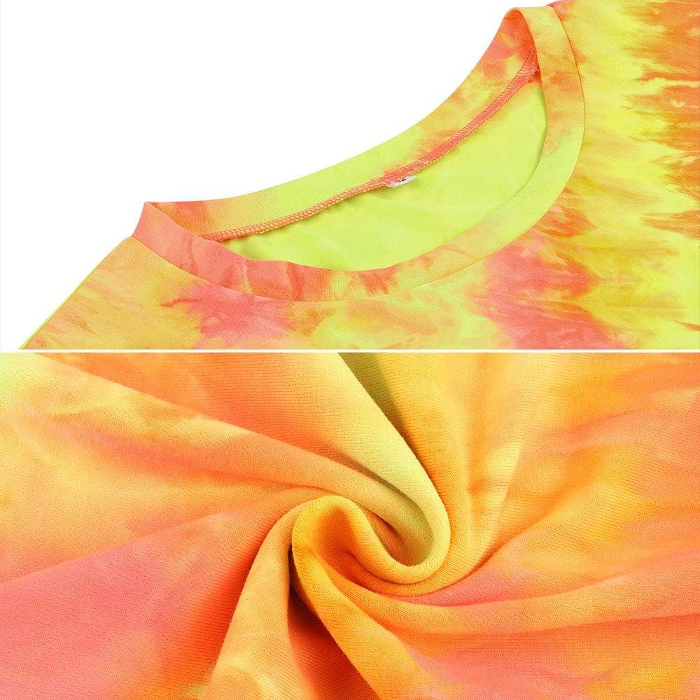 Womens Summer 2 Piece Basic Set Tie Dye Biker Pant Swing Sportwear Tracksuit