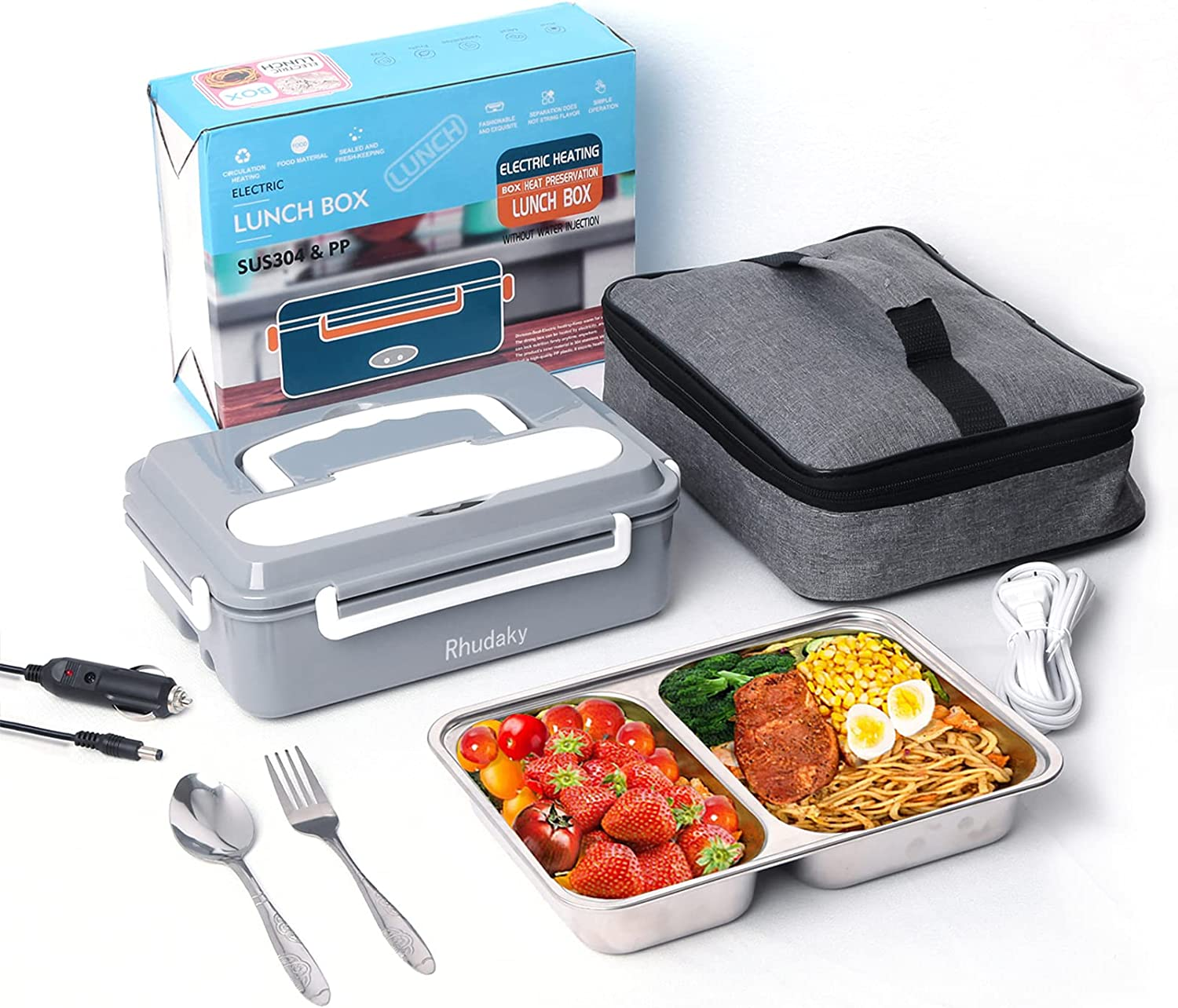 Electric Lunch Box Leak Proof ,Food Heater for Truck & Office Stainless Steel Portable Food Warmer Lunch Box Mini Microwave Snack Containers - Fast Heating