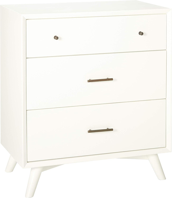 Alpine Furniture Flynn Mid Century Modern Small Chest, 3 Drawer, White