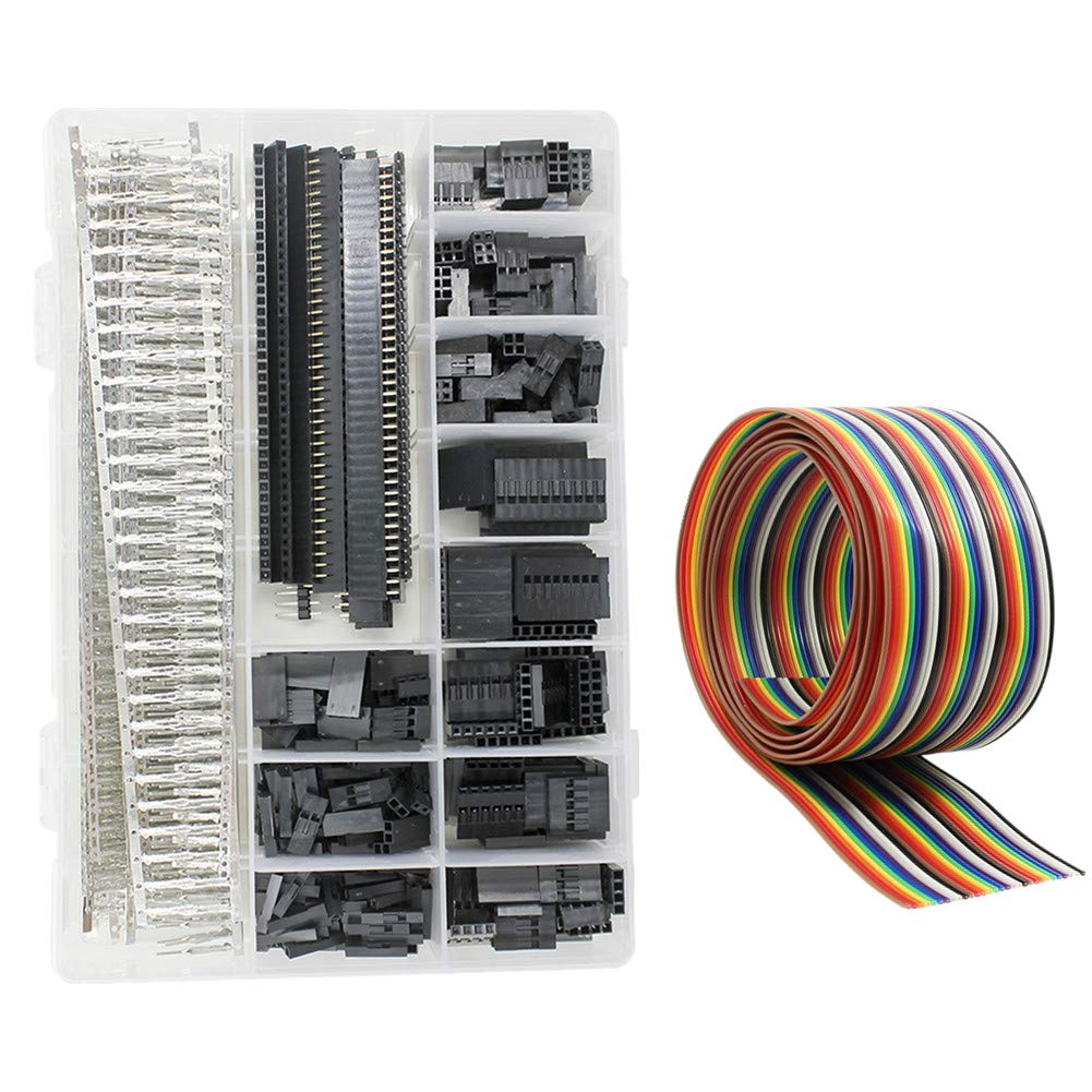 WayinTop 1250pcs Dupont Connector Kit 2.54mm Header Male Female Crimp Pins Terminals Housing 1 2 3 4 5 6 8 10 Pin Single Double Row and 40pin 1.27mm Ribbon Cable FC/IDC Jumper Wire 1M (Connectors Set) WYTP07-DBDZ-CPX