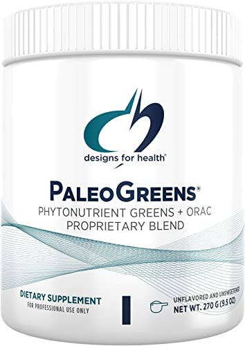 Designs for Health PaleoGreens – Unflavored and Unsweetened Organic Green Shake Powder with Alkalizing Vegetables, Enzymes Antioxidants, No Fillers Non-GMO 30 Servings 270g