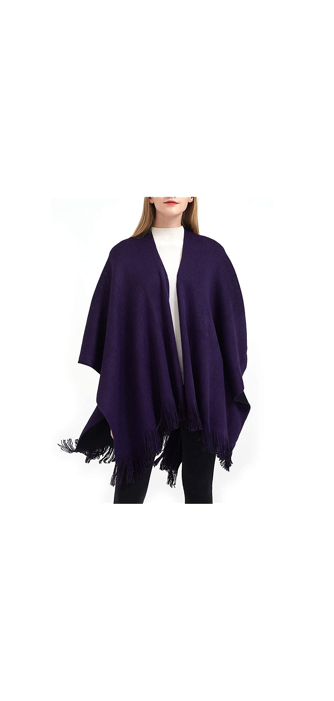 Women's Winter Knitted Faux Cashmere Poncho Capes Shawl