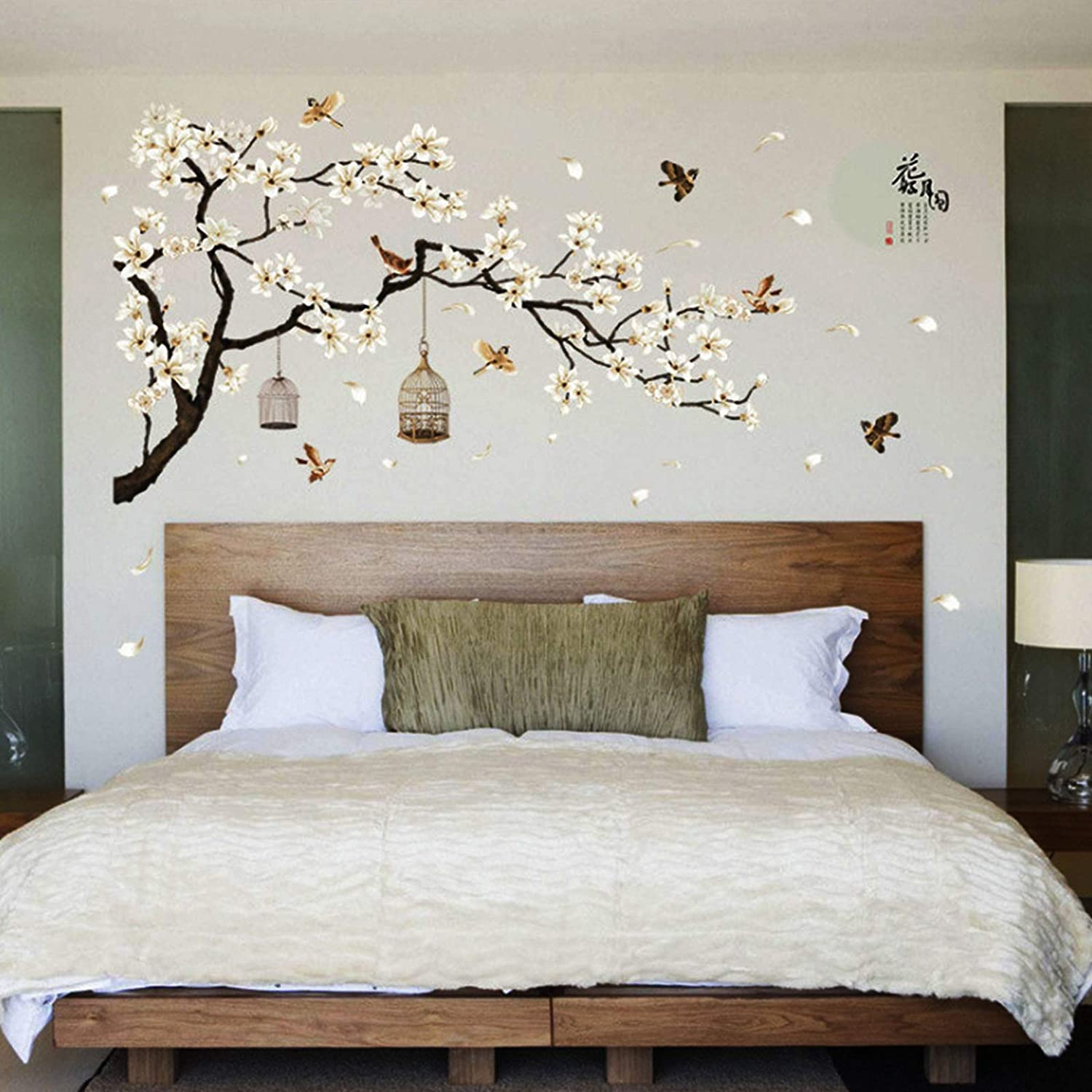 White Cherry Blossom Flower Tree Birds Wall Stickers Waterproof Wall Paper for TV Background Decor Mural Art Decal Home Decor