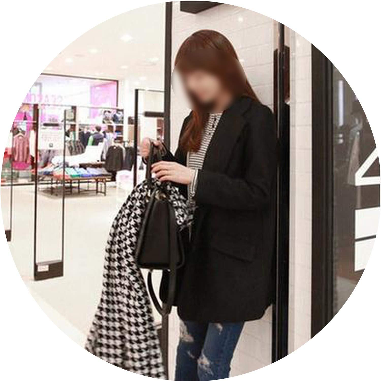 Black add cotton Souieyshop Winter Wool Coat Breasted Pocket TurnDown Collar Long Sleeve Woolen Jacket