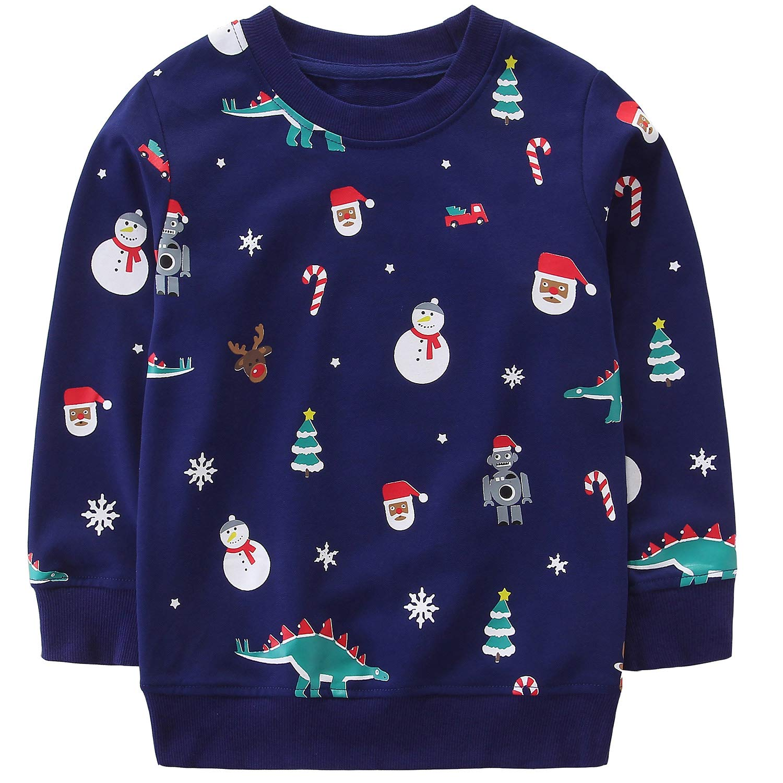 Boy Clothes Christmas Dinosaur Sweatshirt,Cute Crew Neck Long Sleeve Top Navy Snowman 4t by Bumeex