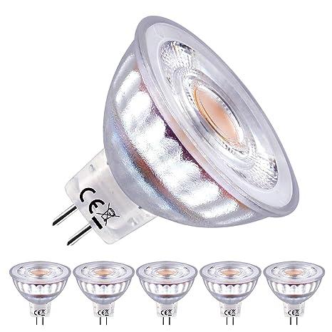 EACLL Bombillas LED GU5.3 2700K Blanco Cálido Sin Parpadeo MR16 12V 5W 480 Lúmenes Equivalente 50W Halógena. 36 ° Luz Blanca Cálida Spotlight LED, ...