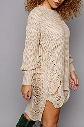 39c325bead5d9 Women Pullover Sweater Dress Ripped Distressed Knit Long Sleeve Dresses at  Amazon Women s Clothing store