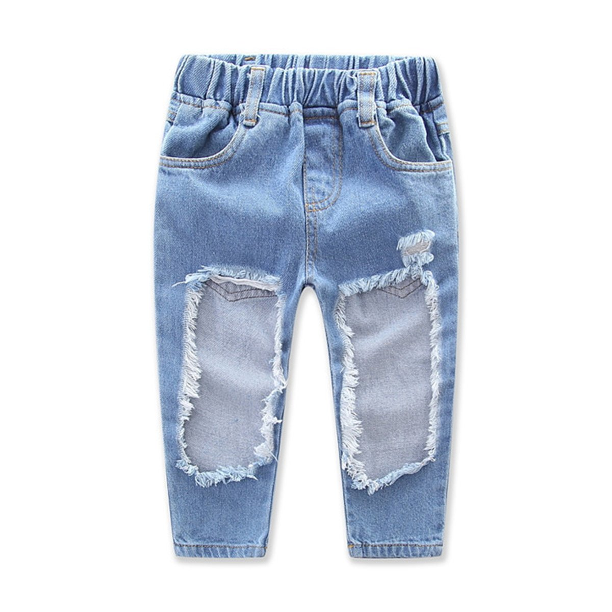 d1d23ff8530c6b Amazon.com  1-7Yrs Kid Baby Girls Ruffle Tops + Big Hole Jeans Cool Girl  Clothes 2pcs Set  Clothing