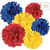 Andaz Press Hanging Tissue Paper Pom Poms Party Decor Trio Kit with Free Party Sign, Red, Yellow, Royal Blue, 6-Pack, For Baby Bridal Shower Decorations