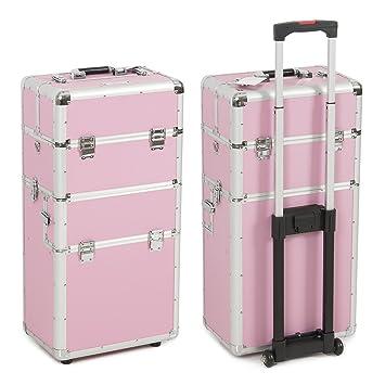 13c6407af679a BELLAVIE 3 in 1 Make up Artist Case Aluminum, Rolling Trolley Cosmetic  Makeup Case, (Pink)