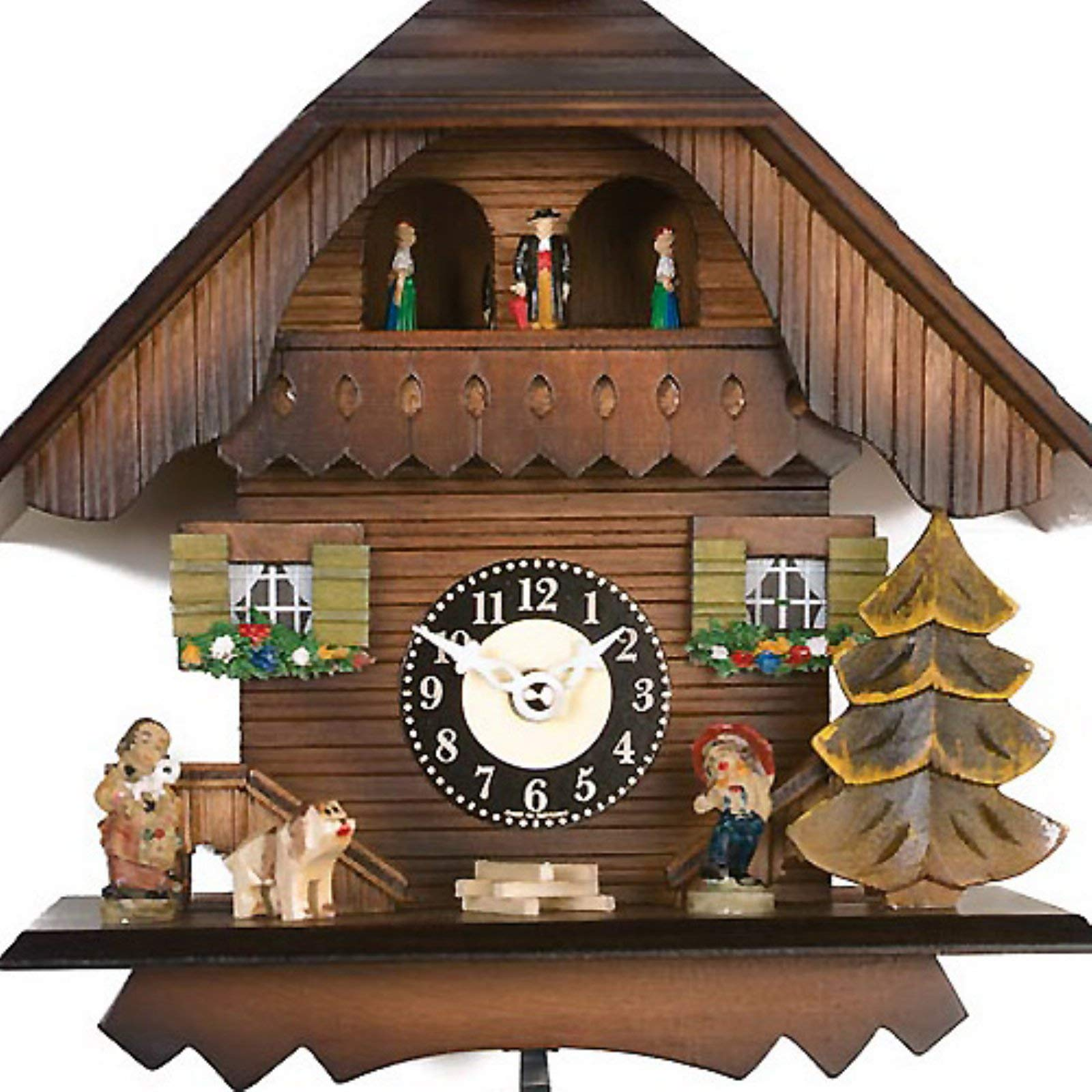 River City Clocks Quartz Cuckoo Clock - Painted Chalet with Dancers - Wesminster Chime or Cuckoo Sound - 7 Inches Tall - Model # 83-07QPT by River City Clocks