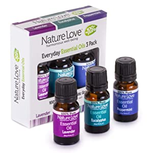Nature Love Harmonious 100% Pure Well-Being Everyday Essential Oils 3 Pack (3/.34 Oz. Bottles)