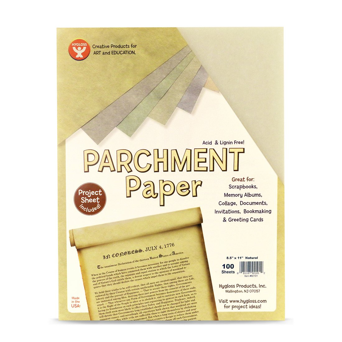 Hygloss Products Craft Parchment Paper Sheets - Printer Friendly, Made in USA - 8-1/2 x 11 Inches, Natural, 100 Pack by Hygloss