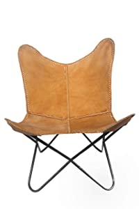 Vintage Natural Real Leather Cover Arm Chair BKF Butterfly Chair Office Decor - Only Cover