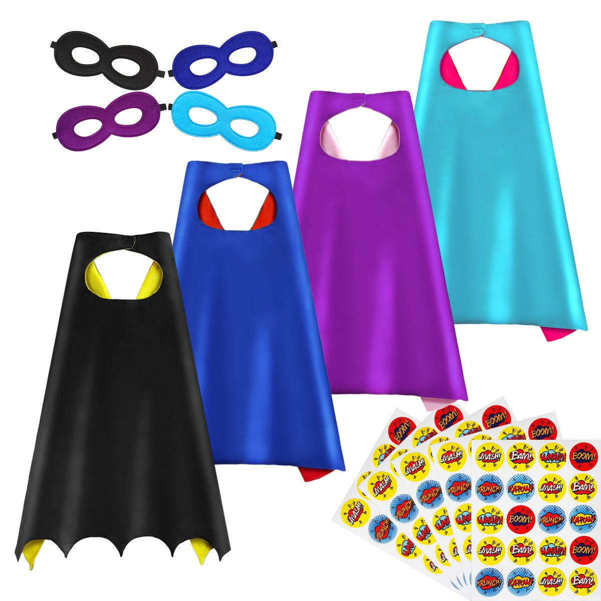 Superhero Capes and Masks, DIY Dress Up Capes and Masks Set, 4 Packs with 100 Stickers