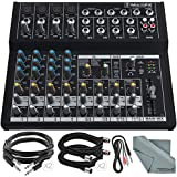 """Mackie Mix Series Mix12FX 12-Channel Compact Mixer and Basic Bundle with XLR Cable + 1/4"""" Cable + More"""