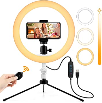 for iPhone Camera Live Streaming//Makeup//YouTube//Vlog//TikTok Videos Photography Shooting Selfie Ring Light 10.2 Dimmable LED Ring Light with Stand and Phone Holder