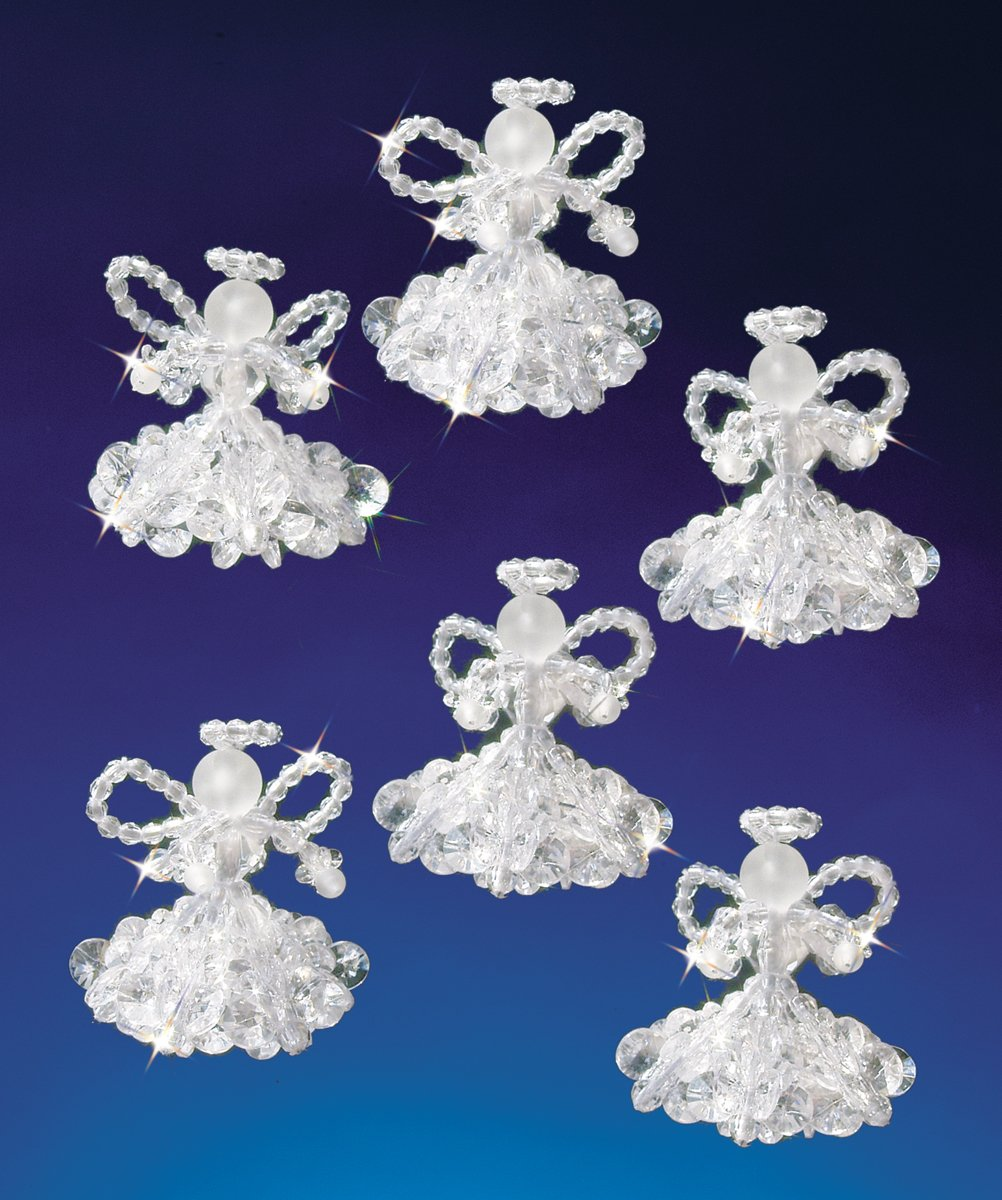 Darice Beadery Holiday Beaded Ornament Kit, 2-Inch, Crystal Angels, Makes 6 Ornaments BOK-5538