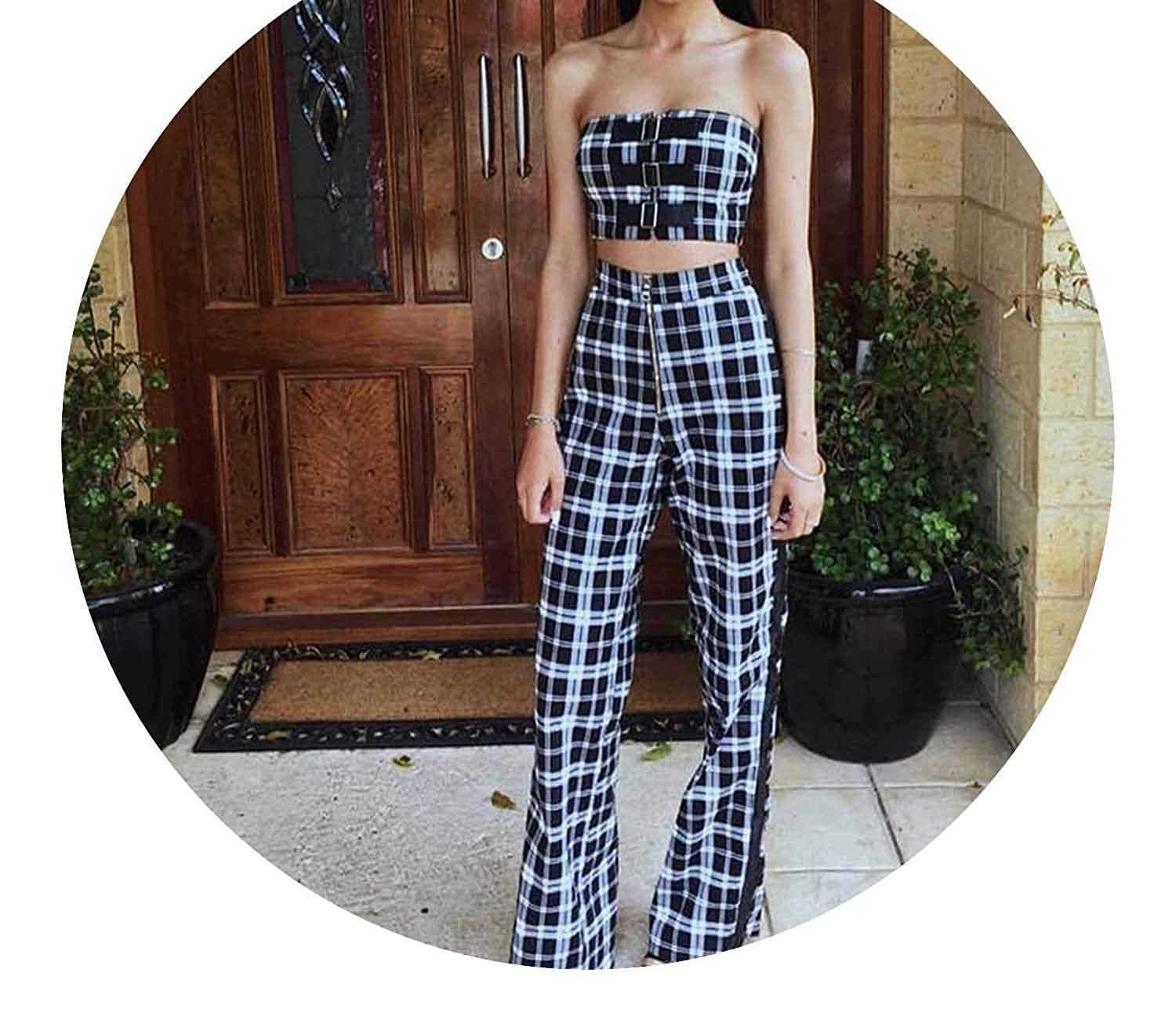 cd54b6cb4 Women Checkered Pants Plaid Side Stripe Ribbon Checkerboard Trousers Pants  Loose High Waist Straight at Amazon Women's Clothing store: