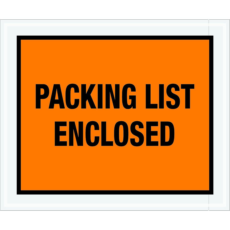 Full Face Orange Tape Logic TLPL429Packing List Enclosed Envelopes Pack of 500 10 x 12
