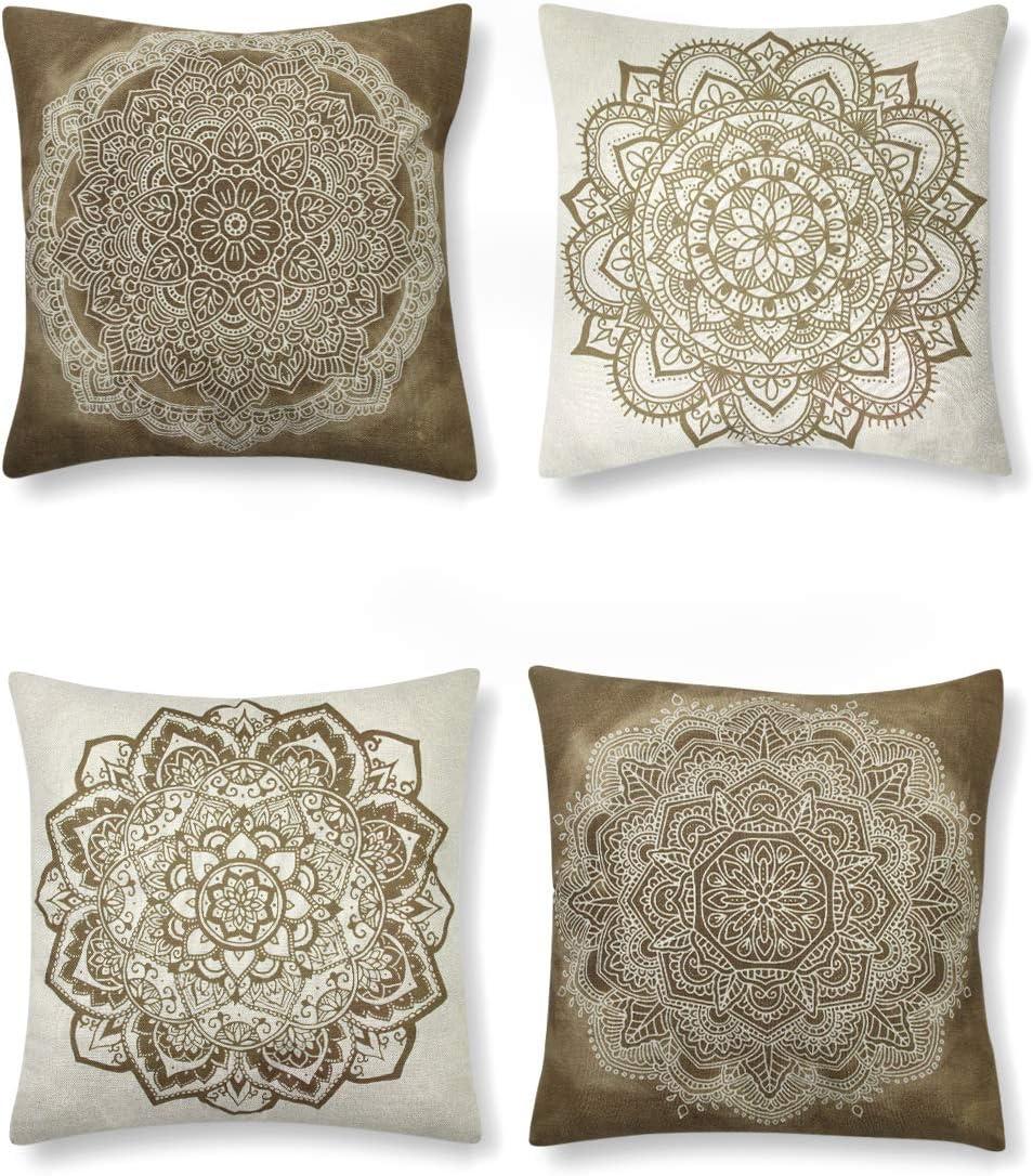 SUMGAR - Fundas de almohada con diseño de mandala, color marrón y blanco, diseño bohemio, cuadrado, de lino, para sofá, cama, coche, con cremallera invisible, 45 x 45 cm, 4 paquetes
