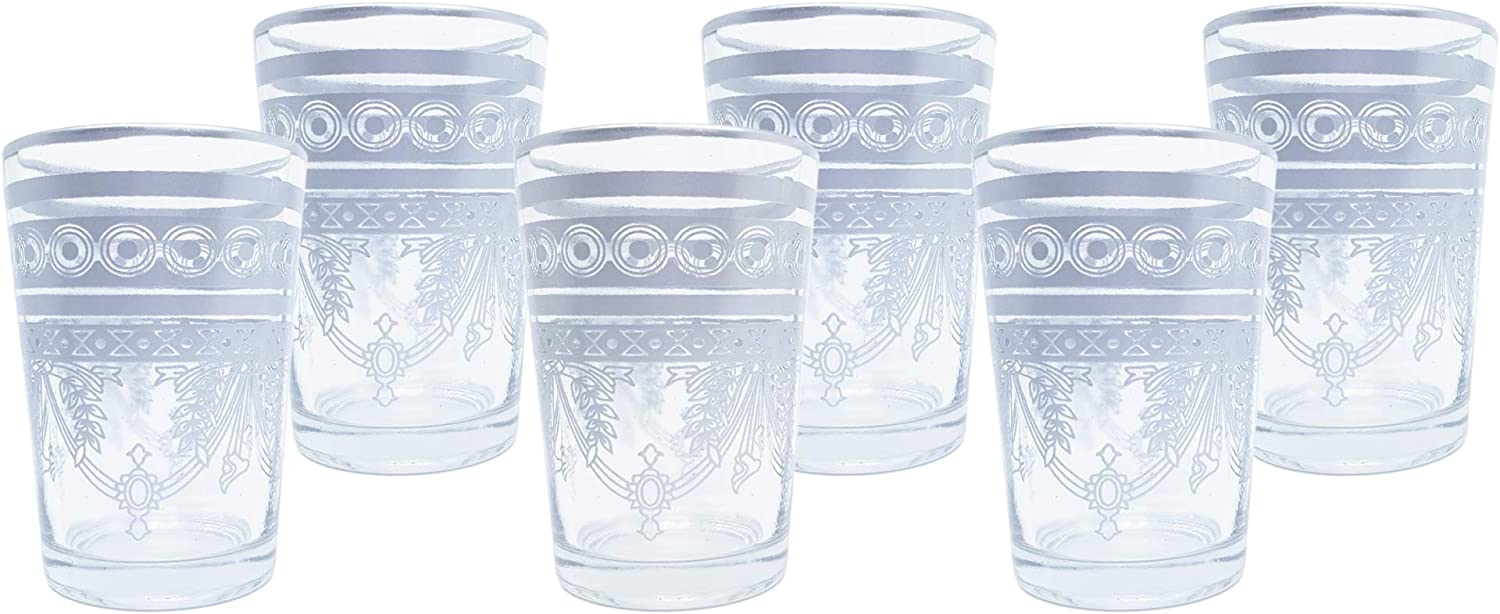 Nomad Treasure's Glass Coffee Set, (6 PACK) 6 Ounces made by hand. Hot/Cold Beverages, Thermal Shock Resistant, Cup for Cappuccino, Latte, Espresso, Wine and Juice, Moroccan tea glasses - Silver