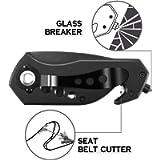 Multifunction Glass Breaker, Seat Belt Cutter, Bottle Opener (Black)