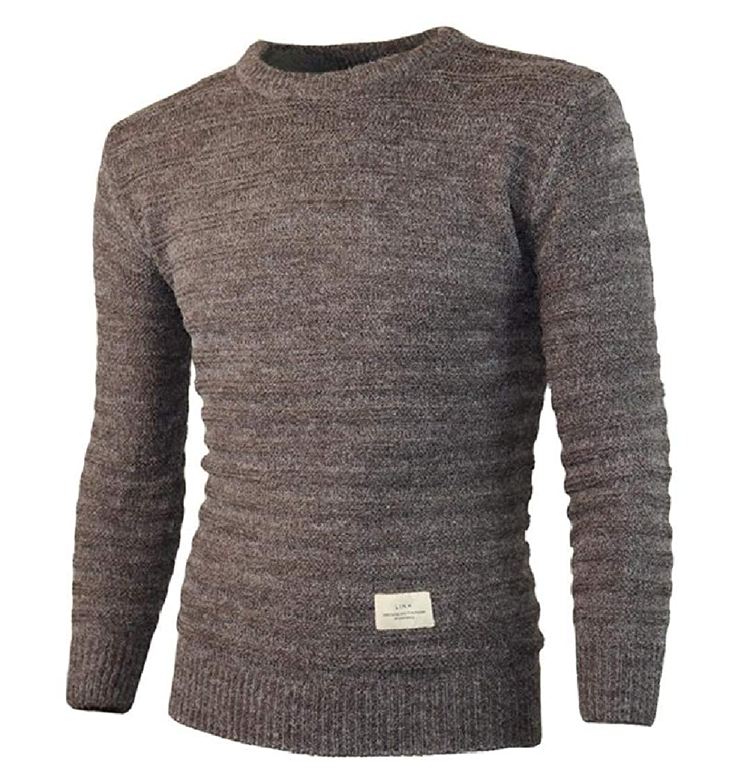 YUNY Mens Pullover Solid Round Neck Relaxed-Fit Business Knitwear Coffee XL