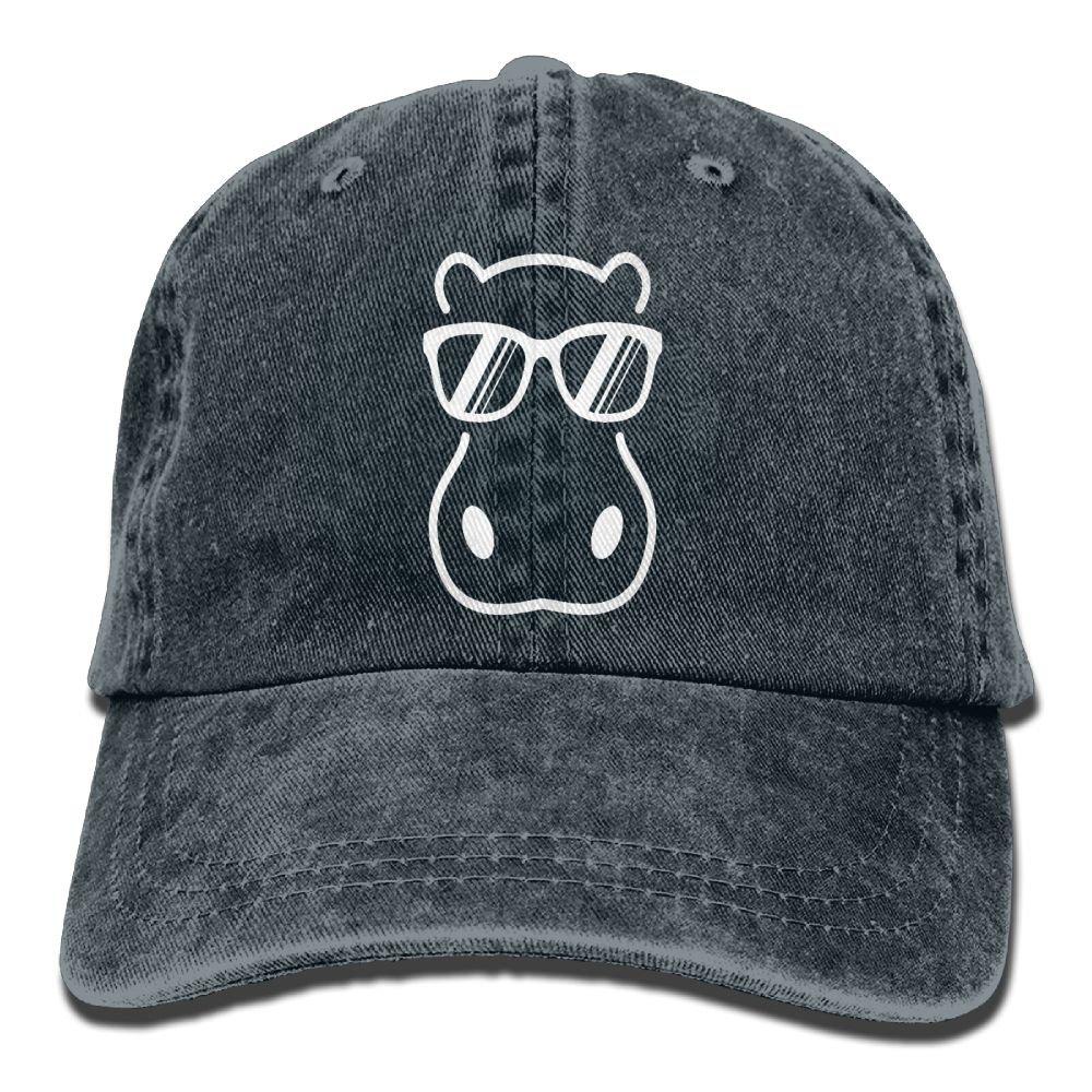 Hippopotamus Wearing Sunglasses Plain Adjustable Cowboy Cap Denim Hat for Women and Men