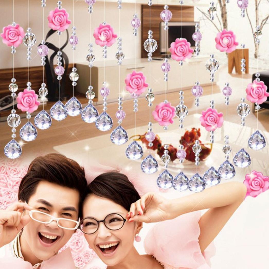 Coohole Crystal Glass Rose Bead Curtain Living Room Bedroom Window Door Wedding Home Decor (B)