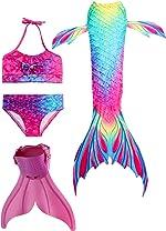 Mermaid Tail Swimsuit with Monofin Girls Boys Swimwear Bikini Set