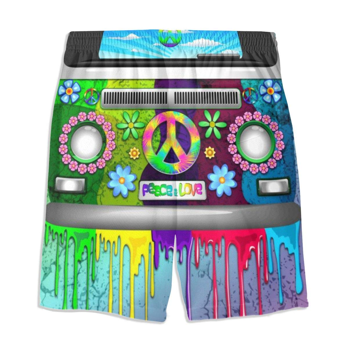 Hippie Van Dripping Rainbow Boys Beach Shorts Quick Dry Beach Swim Trunks Kids Swimsuit Beach Shorts