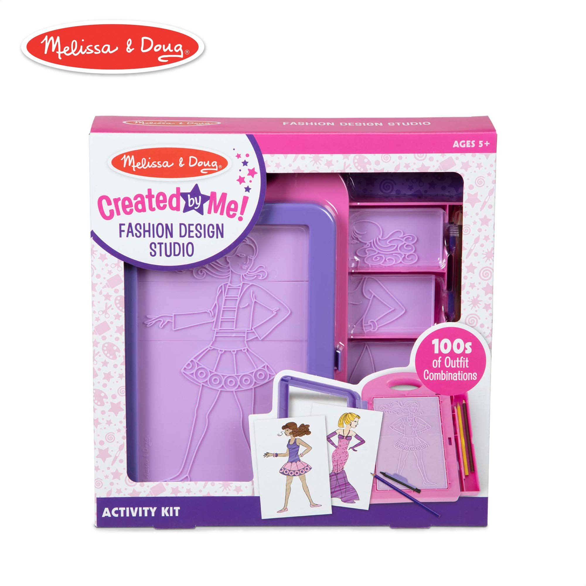 Melissa & Doug Created by Me! Fashion Design Studio Rubbing Plate Activity Kit (Arts & Crafts, 9 Double-Sided Rubbing Plates, 4 Pencils, Crayon, 16 Piece) by Melissa & Doug