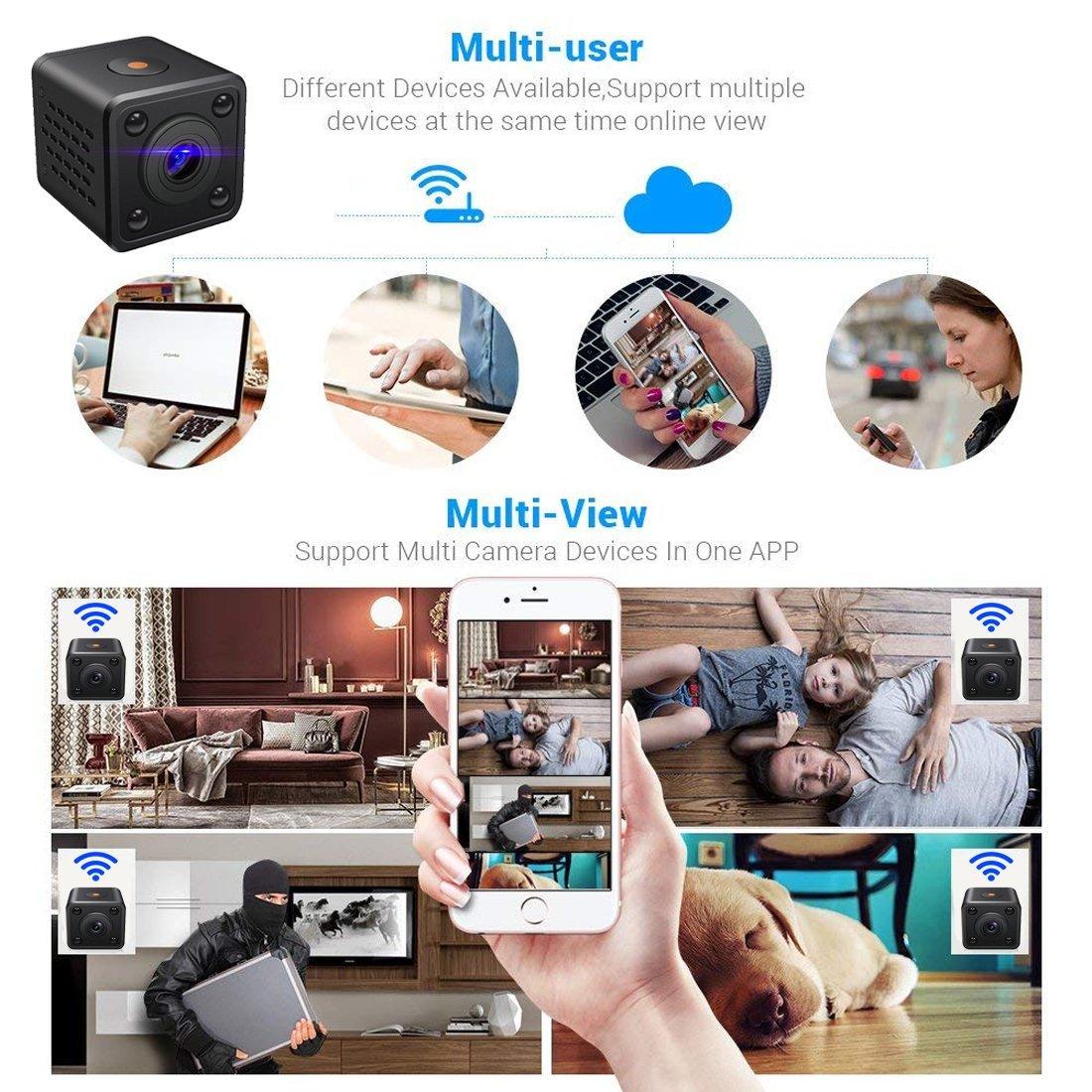 Mini Cámara Espía WiFi | Cámara de Vigilancia Inalámbrica Oculta IP con Sensor de Movimiento y Visión Nocturna | Aplicación para iPhone y Android: ...