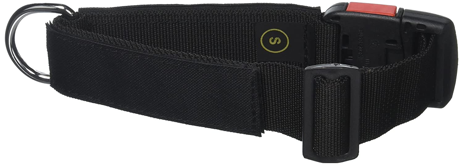 Dean and Tyler Patch Collar , Nylon Dog Collar with K9 ON DUTY Patches Black Size  Small Fits Neck 18-Inch to 21-Inch