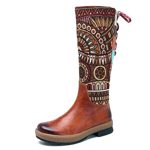 a6d71e2e3ec79 socofy Leather Knee Boots, Women's Bohemian Splicing Pattern Flat Knee High  Boots