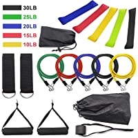 16pcs Combo Set Exercise Resistance tube Bands, latex band Workout Yoga, home Gym Equipment Full Body training, legs arms shoulders stretching sports accessories