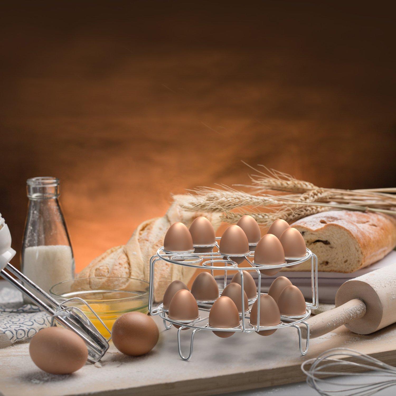 Egg Steamer Rack, Packism Stainless Steel Steamer Rack Kitchen Trivet Basket Stand Stackable Vegetable Steaming Holder Fits Instant Pot 6 & 8 Qt Pressure Cooker Accessories, 2 Pack, Silver