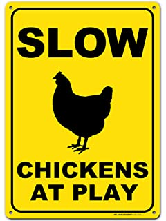 """13/""""x13/"""" plastic funny Chicken sign xing Crossings animal"""