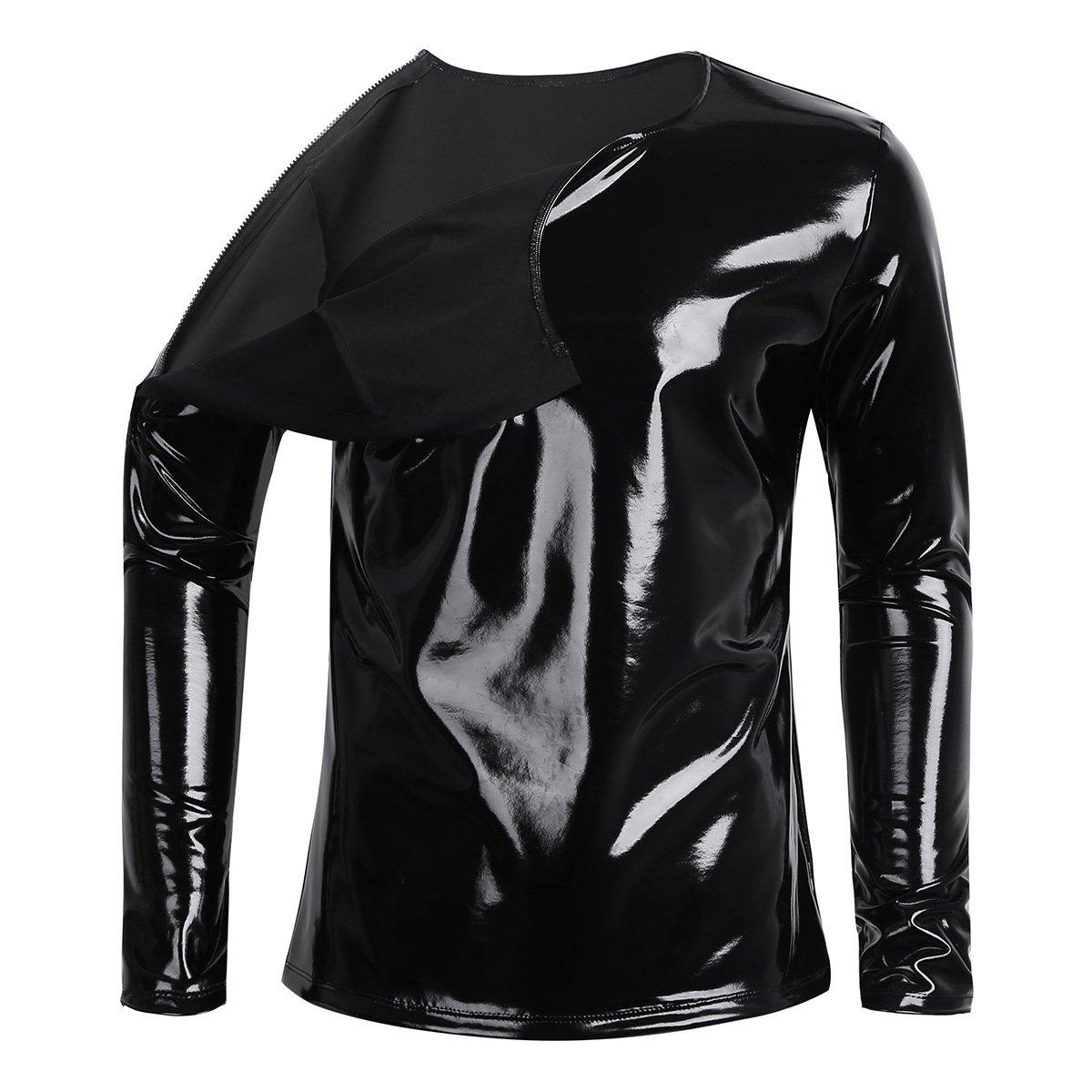 TiaoBug Mens Sexy Shiny Patent Leather Long Sleeve Zipper Metallic T-Shirt at Amazon Mens Clothing store: