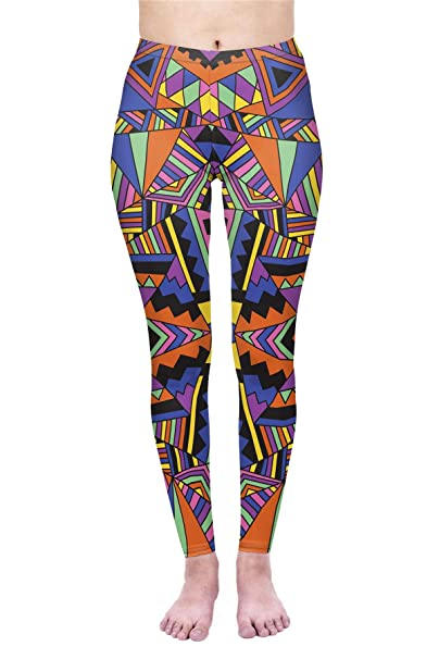 6be968939d813 Amazon.com: kukubird Printed Patterns Women's Yoga Leggings Gym Fitness  Running Pilates Tights Skinny Pants Size 6-10 Stretchable-Block Geo Tribal:  Clothing