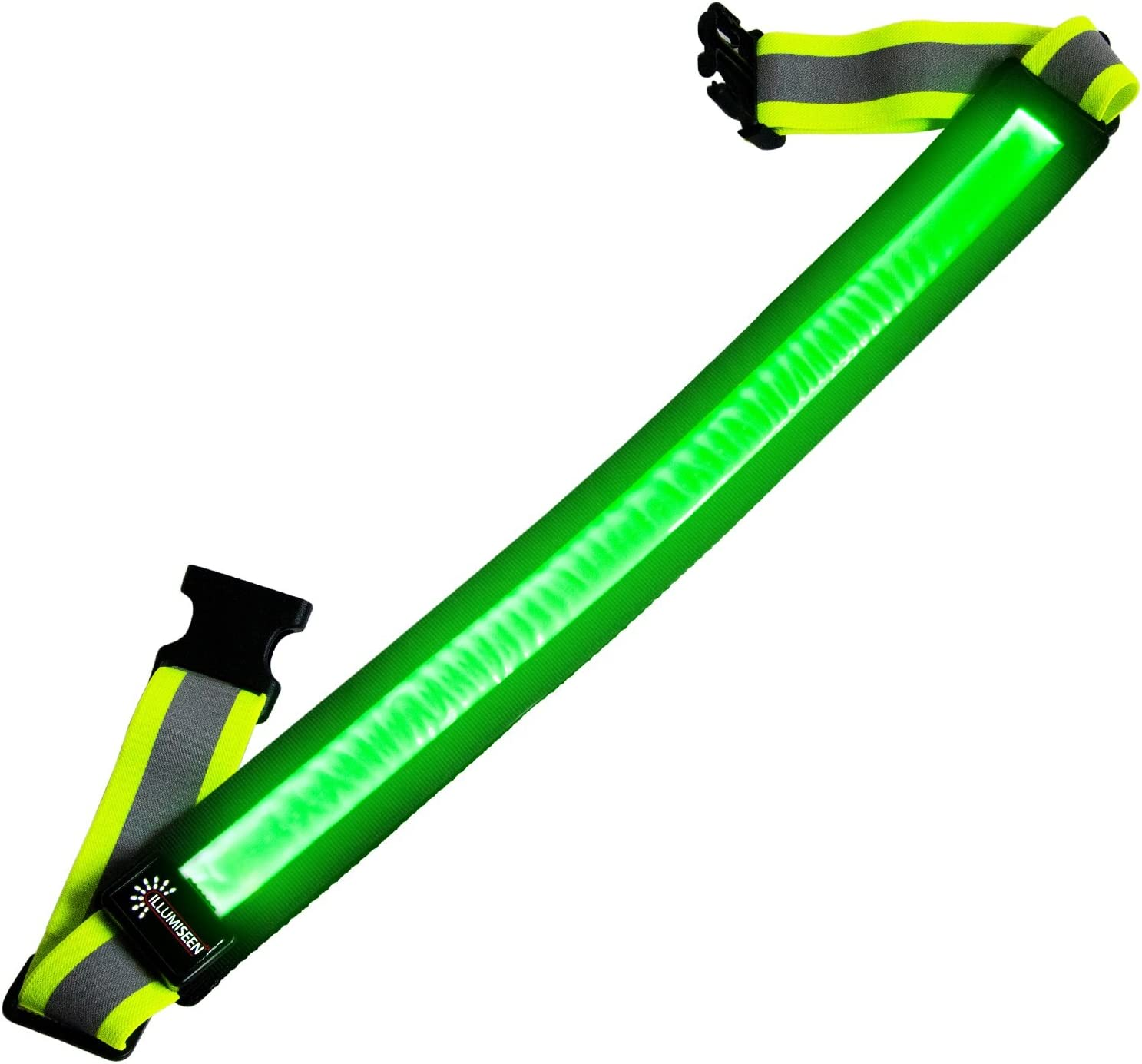 LED Reflective Belt - USB Rechargeable - High Visibility Gear for Running, Walking & Cycling - Fits Women, Men & Kids - Fully Adjustable & Lightweight - Safer Than a Reflective Vest - Green, Red, Blue : Sports & Outdoors